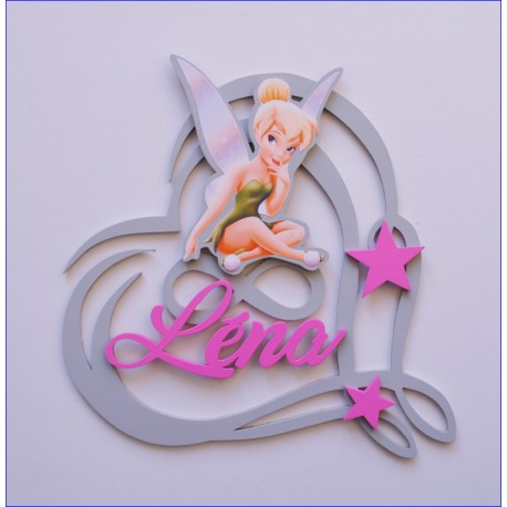 Plaque coeur fée clochette personnalisée