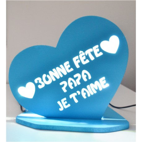 LAMPE PERSONNALISEE COEUR LED BLANCHE