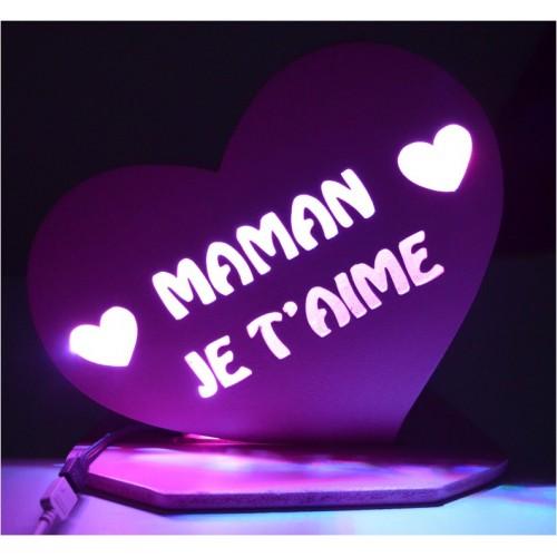 LAMPE PERSONNALISEE COEUR MAMAN