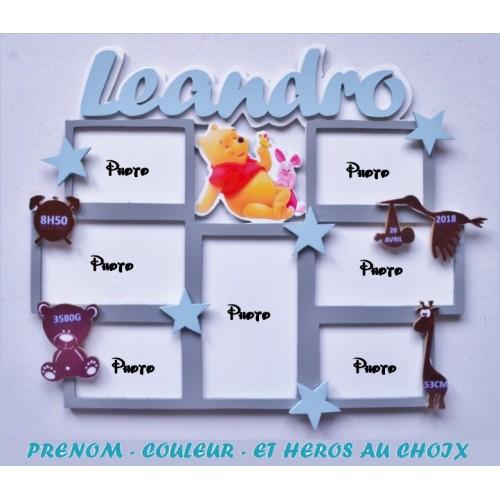 Plaque de naissance winnie personnalisée (héros au choix) Cadre photo