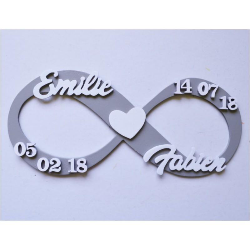 """Plaque Infini """"Amour"""" personnalisable avec 2 prénoms"""