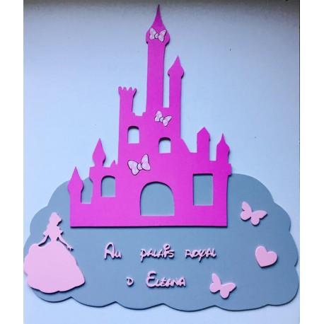 Plaque géante 60cm chateau de princesse personnalisée
