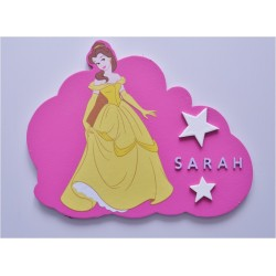 Plaque nuage princesse La belle et la bête personnalisée