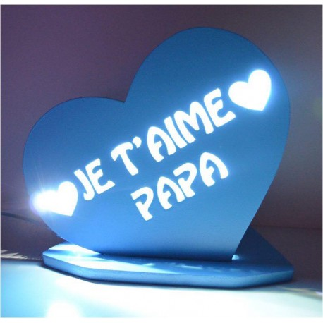 LAMPE PERSONNALISEE COEUR PAPA LED BLANCHE