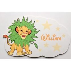 Plaque nuage Simba Roi Lion personnalisée