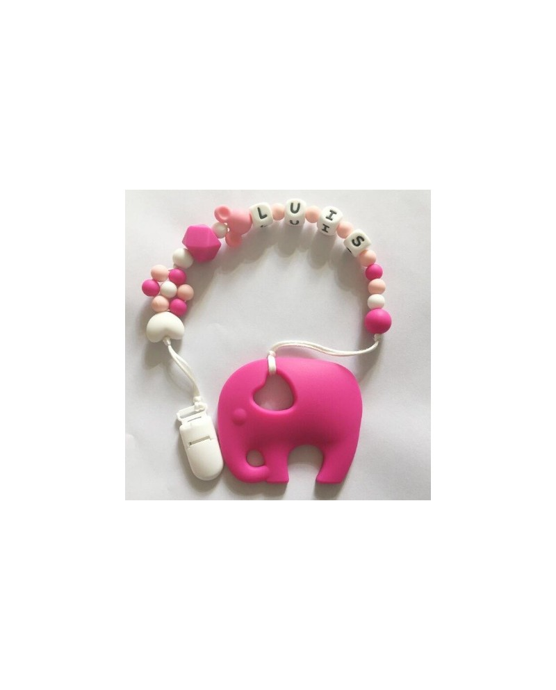 Attache tétine éléphant rose silicone
