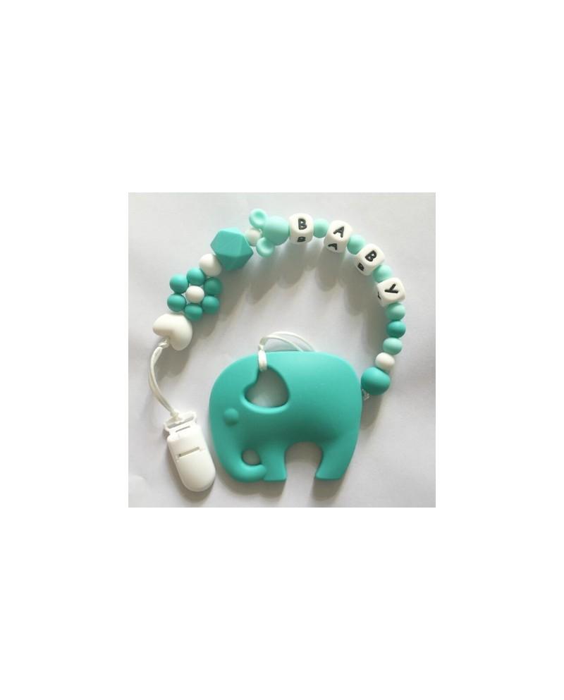 Attache tétine éléphant bleu/vert silicone