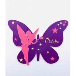 Plaque papillon et fée clochette personnalisée