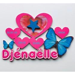 Plaque de naissance papillon personnalisée
