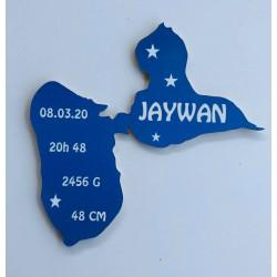 Décoration carte de la Guadeloupe personnalisée