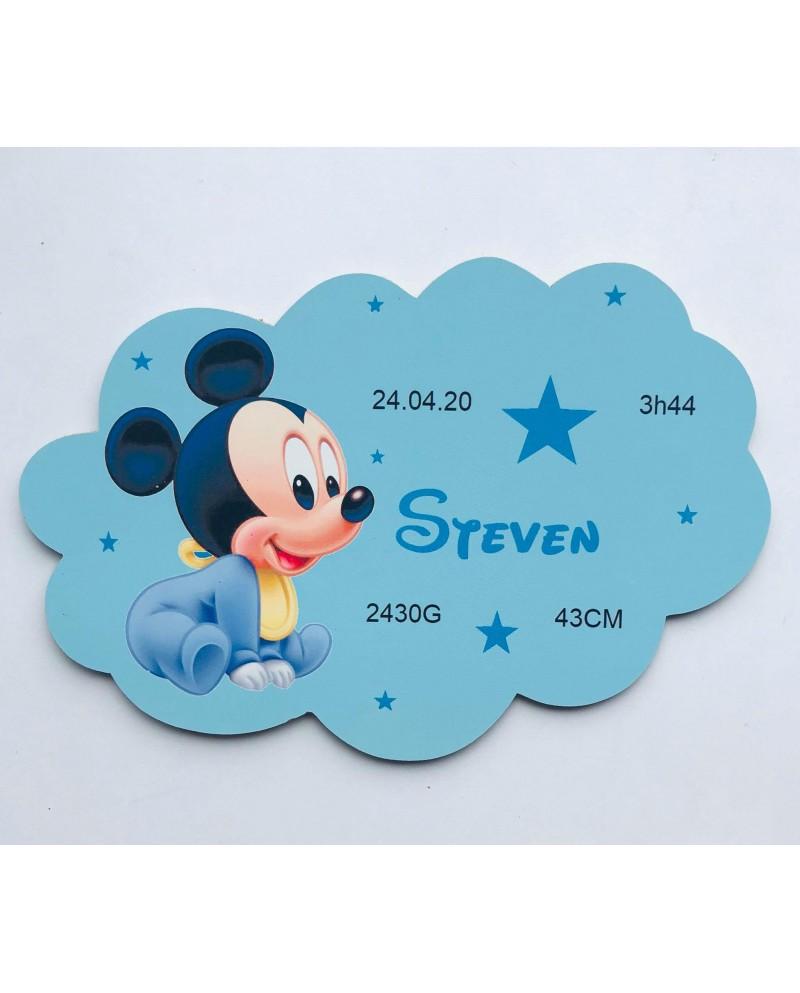 Plaque nuage Mickey naissance personnalisée