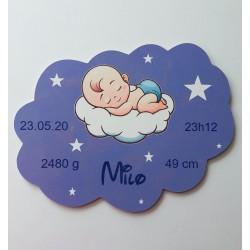Plaque nuage ange naissance personnalisée