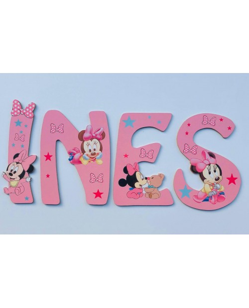 Lettres Bois pour Prénom: Minnie Baby