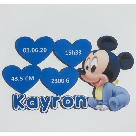 Plaque de naissance Mickey personnalisée