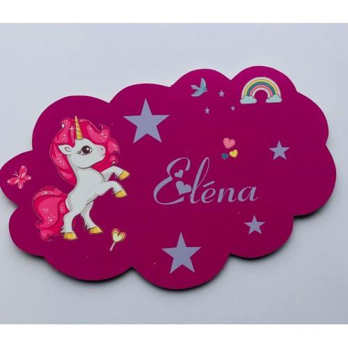 Plaque nuage personnalisée licorne