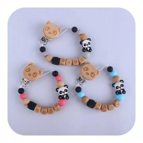 Attache tétine Silicone et bois panda