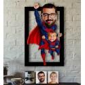 Caricature superman père fils
