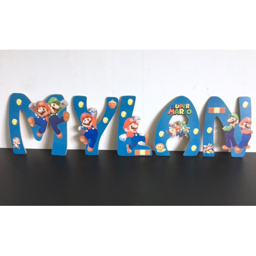 Lettres Bois pour Prénom: Mario et luigi