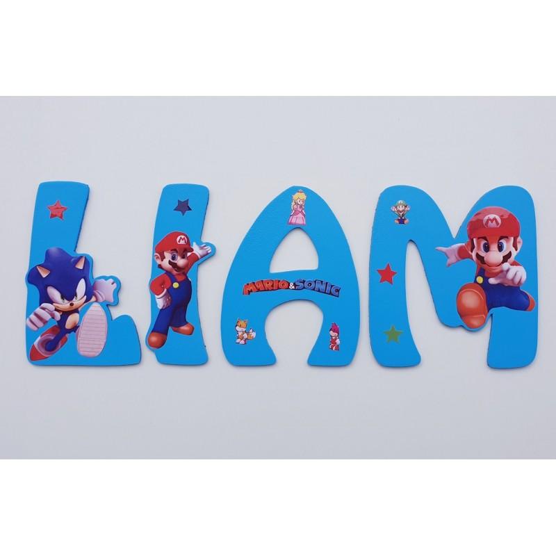 Lettres Bois pour Prénom: Mario et Sonic