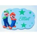 Plaque nuage Mario et Luigi personnalisée