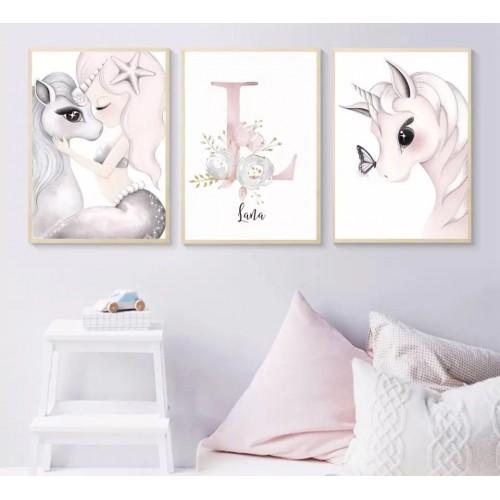Lot de 3 toiles personnalisées Licorne