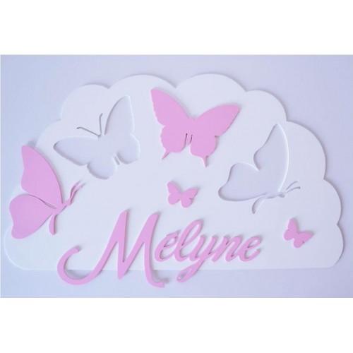 Plaque nuage papillon personnalisée