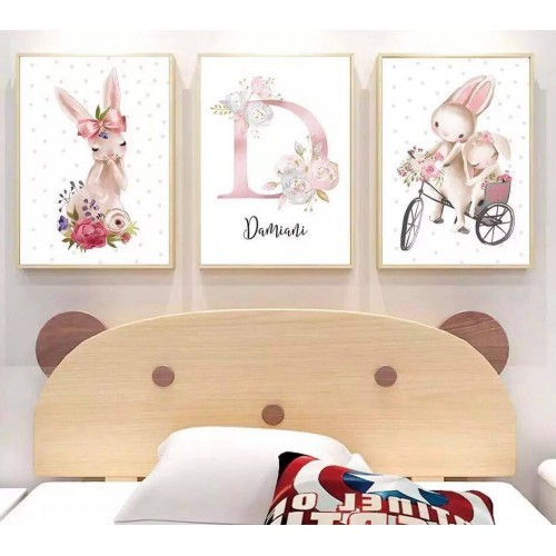 Lot de 3 toiles personnalisées lapin
