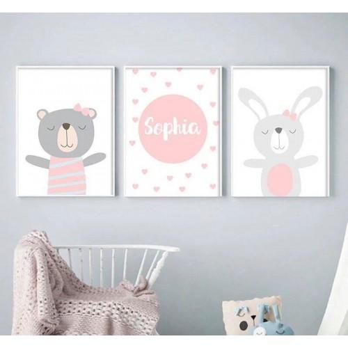 Lot de 3 toiles personnalisées ourson et lapin