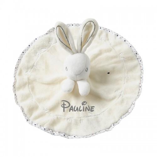 Doudou lapin blanc personnalisé