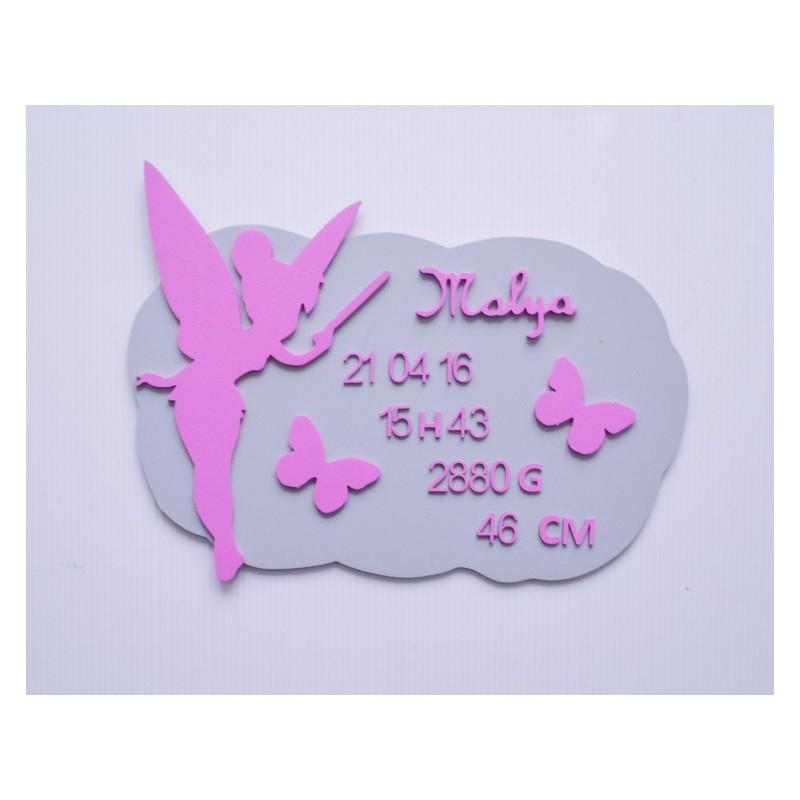 Plaque de naissance Fée clochette personnalisée