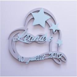 Plaque de naissance coeur & étoiles personnalisée