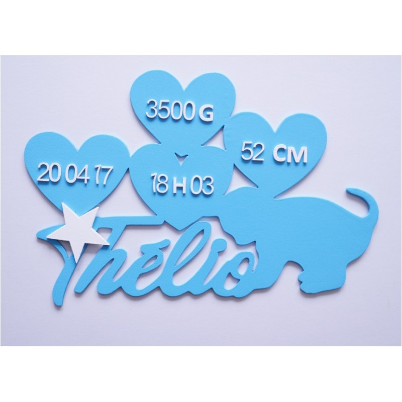 Plaque nuage chat personnalisée